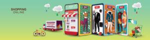 online shopping telefoon uitgevouwen met meerdere kledingopties