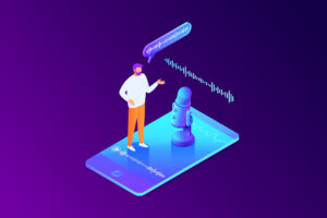 representation of voice search - man standing on a phone
