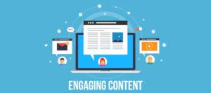Engaging content. Computerscherm met content dat erom heen vliegt