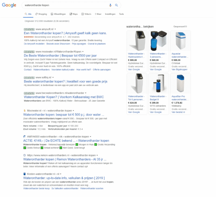 Google zoek resultaten waterontharder kopen